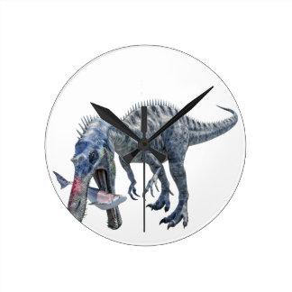 Suchomimus Dinosaur Eating a Shark Round Clock