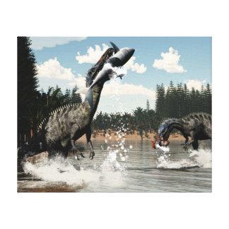 Suchomimus dinosaurs fishing fish and shark canvas print