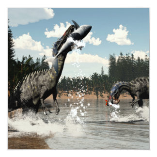 Suchomimus dinosaurs fishing fish and shark card