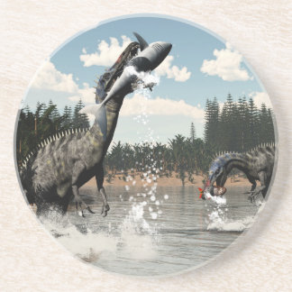 Suchomimus dinosaurs fishing fish and shark coaster