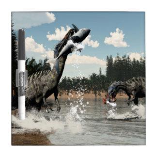 Suchomimus dinosaurs fishing fish and shark dry erase board