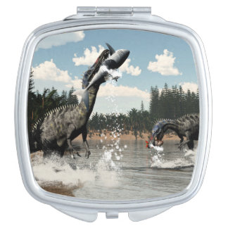 Suchomimus dinosaurs fishing fish and shark makeup mirror