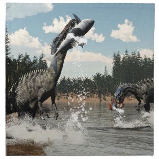 Suchomimus dinosaurs fishing fish and shark napkin