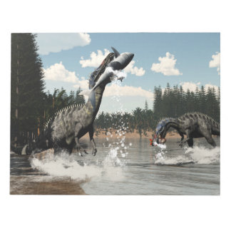 Suchomimus dinosaurs fishing fish and shark notepad