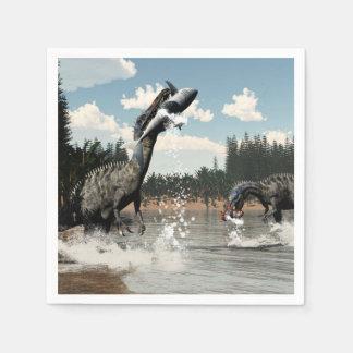 Suchomimus dinosaurs fishing fish and shark paper napkin