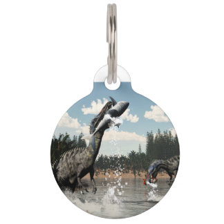 Suchomimus dinosaurs fishing fish and shark pet ID tag