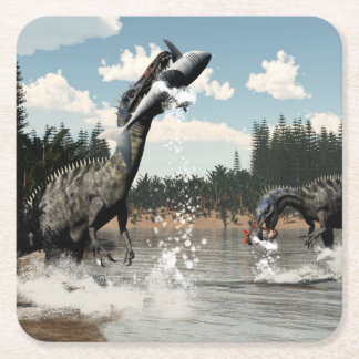 Suchomimus dinosaurs fishing fish and shark square paper coaster