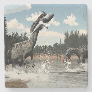 Suchomimus dinosaurs fishing fish and shark stone coaster