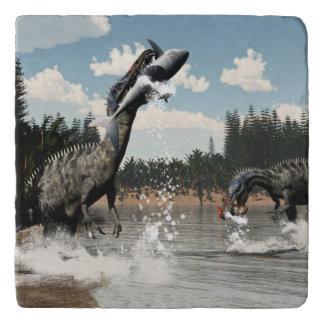 Suchomimus dinosaurs fishing fish and shark trivet