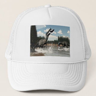 Suchomimus dinosaurs fishing fish and shark trucker hat