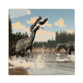 Suchomimus dinosaurs fishing fish and shark wood coaster