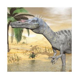 Suchomimus dinosaurs in desert - 3D render Canvas Print