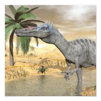 Suchomimus dinosaurs in desert - 3D render Card