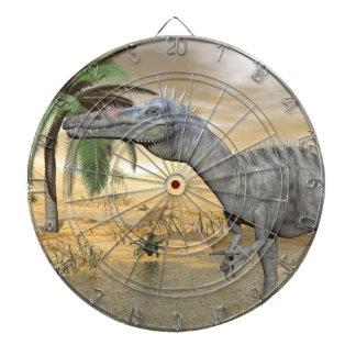 Suchomimus dinosaurs in desert - 3D render Dartboard