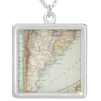 Sudamerika sudliches Blatt - South America Map Silver Plated Necklace