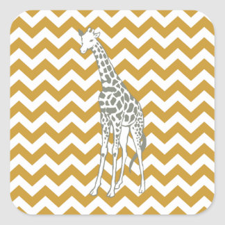 Sudan Brown Safari Chevron with Pop Art Giraffe Stickers