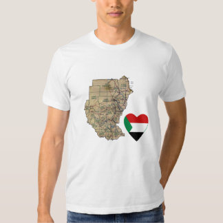 Sudan Flag Heart and Map T-Shirt
