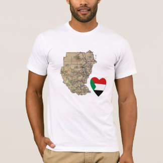 Sudan Flag Heart and Map T-Shirt