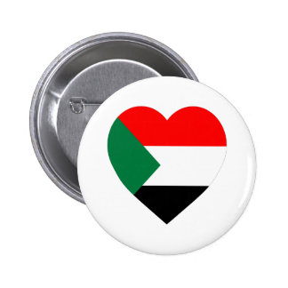 Sudan Flag Heart Pinback Button