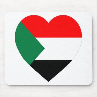 Sudan Flag Heart Mouse Pads