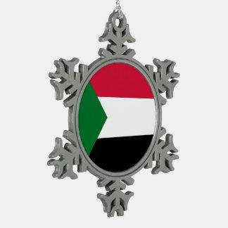 Sudan Flag Snowflake Pewter Christmas Ornament
