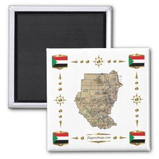 Sudan Map + Flags Magnet