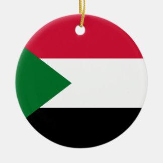 Sudan National World Flag Ceramic Ornament