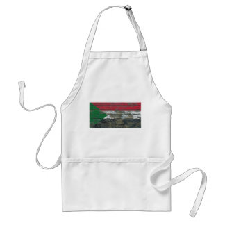 Sudanese Flag on Rough Wood Boards Effect Standard Apron