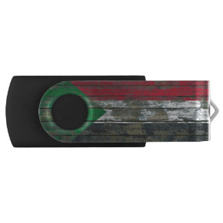 Sudanese Flag on Rough Wood Boards Effect Swivel USB 2.0 Flash Drive