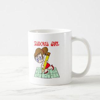 Sudoku Girl Brown Hair Coffee Mugs