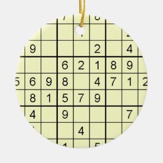 Sudoku Yellow Ornament