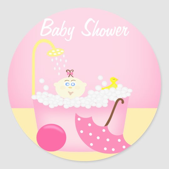Sudsy Bathtub Pink Baby Shower Sticker