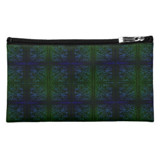 Suede Blue Green Cosmetic Bag