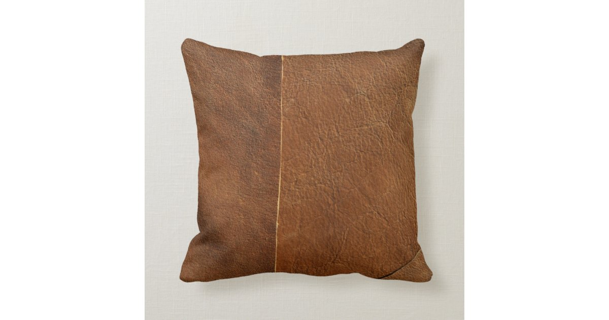 Throw Pillows Faux Leather : Suede Mix Faux Leather Throw Pillow Zazzle