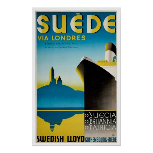 Suede Sweden Vintage Ship Advertisement Posters
