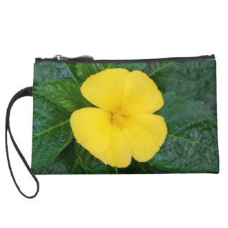Sueded Mini Clutch - West Indian Holly Wristlet Clutch