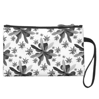 Sueded Mini Clutch with Stylized Flower 1
