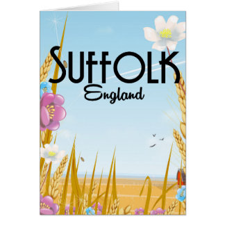 Suffolk England farmyard cartoon travel poster Card
