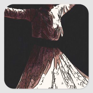 sufi boy whirling square sticker
