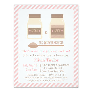 Sugar and Spice and Everything Nice Baby Shower 11 Cm X 14 Cm Invitation Card