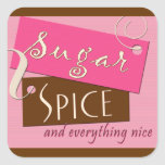 Sugar and spice and everything nice square sticker