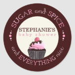 Sugar and Spice Cupcake Baby Shower Favour Sticker