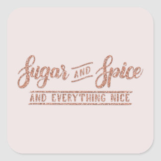 Sugar and Spice Rose Gold Calligraphy Sticker