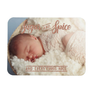 Sugar and Spice Rose Gold Glitter Typography Rectangular Photo Magnet