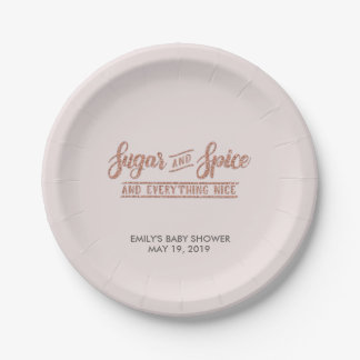 Sugar and Spice Rose Gold Typography Baby Shower 7 Inch Paper Plate
