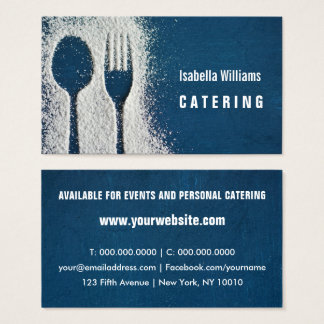 Sugar, Cutlery, Navy Blue Catering, Restaurant Business Card