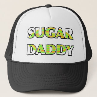 """SUGAR DADDY"" with Green Candy Whirl Design Trucker Hat"