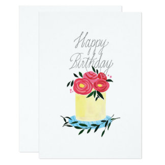 'Sugar Flower Cake with Topper' Birthday Card
