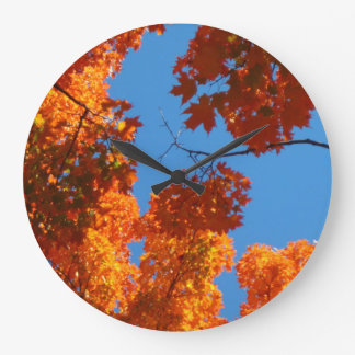 Sugar Maple Autumn Leaves Clock with Blue Sky