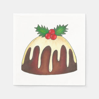 Sugar Plum Pudding w/ Holly Christmas Napkins Paper Napkins